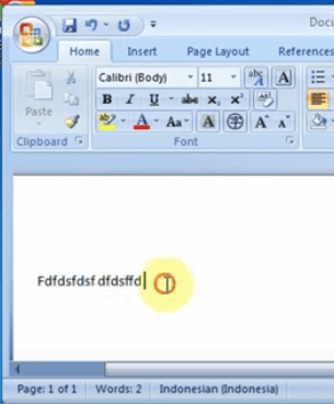 open MS word and type text