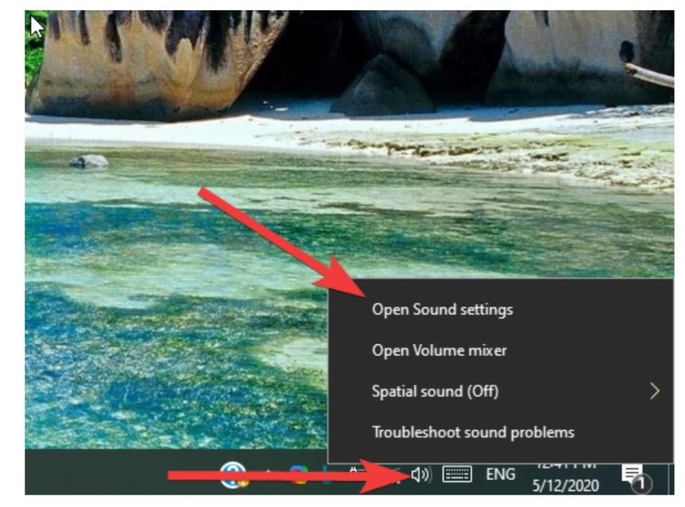 Open the sound settings menu.