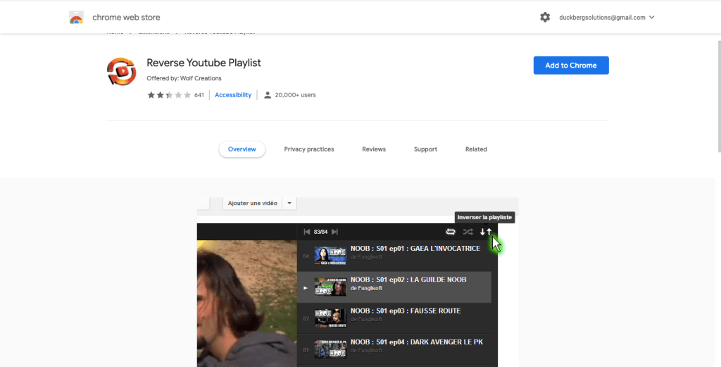 Search for reverse youtube playlist