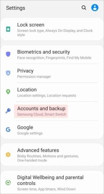 Settings Account and backup screen