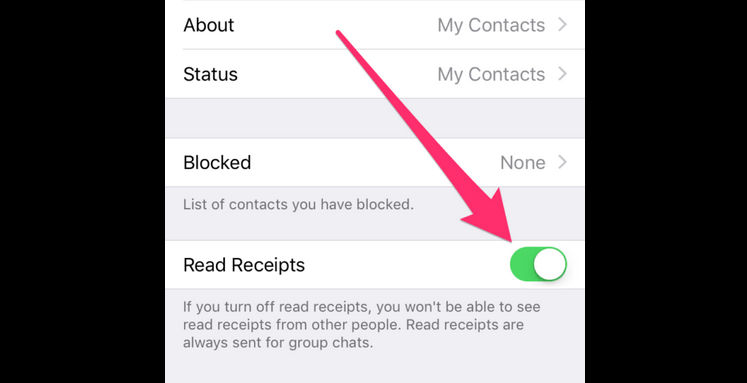 disable read recipient in WhatsApp settings