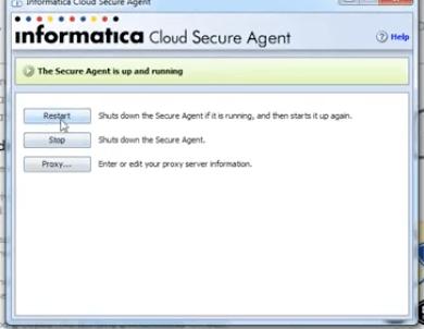 informatica agent running as
