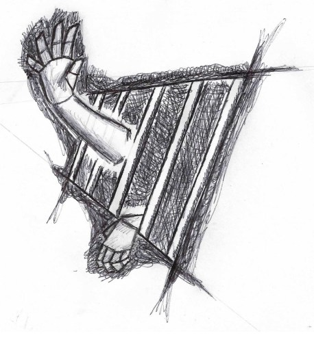 a hand reaching through bars from darkness