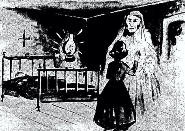 """Σκίτσο της εφημερίδας """"ΕΜΠΡΟΣ"""", που απεικονίζει την συνάντηση της μικρής Ζαχαρούλας με το φάντασμα"""