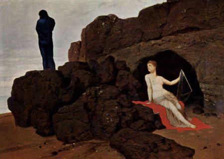 """""""Οδυσσέας και Καλυψώ"""", πίνακας του Ελβετού συμβολιστή ζωγράφου Άρνολντ Μπαίκλιν (16/10/1827 - 16/01/1901)"""