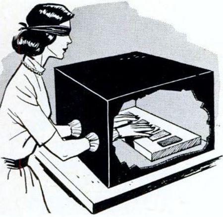 Σκίτσο από δημοσίευμα του Αμερικανικού περιοδικού Popular Mechanics (Απρίλιος 1964), στο οποίο αναπαρίσταται το πείραμα με το κουτί