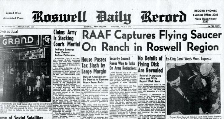 """Το περιστατικό του Roswell στο πρωτοσέλιδο της εφημερίδας """"Roswell Daily Record"""", στις 08/07/1947"""