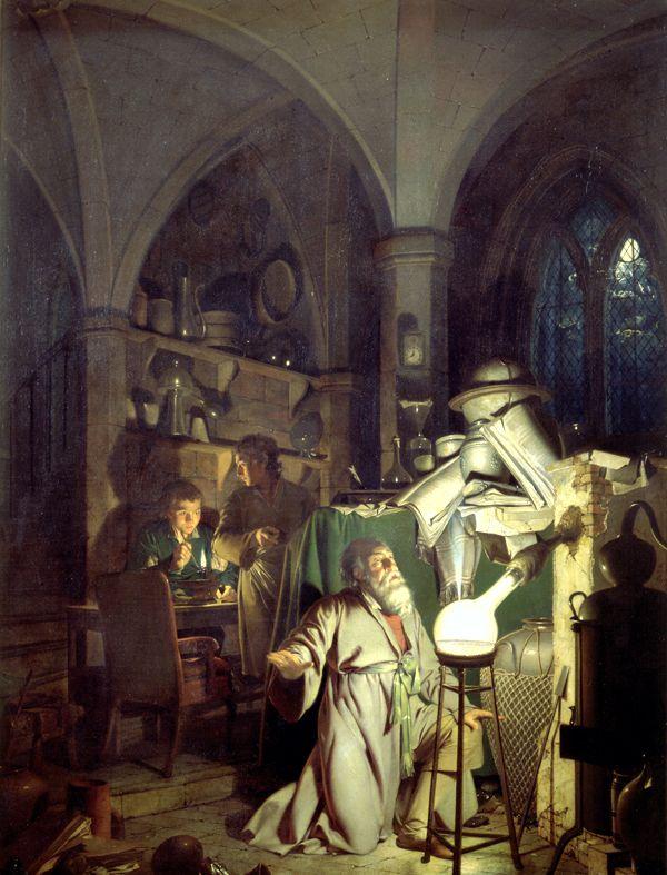 """""""Ο Αλχημιστής, αναζητώντας τη Φιλοσοφική Λίθο"""", πίνακας του Άγγλου ζωγράφου Joseph Wright (1734 - 1797)"""