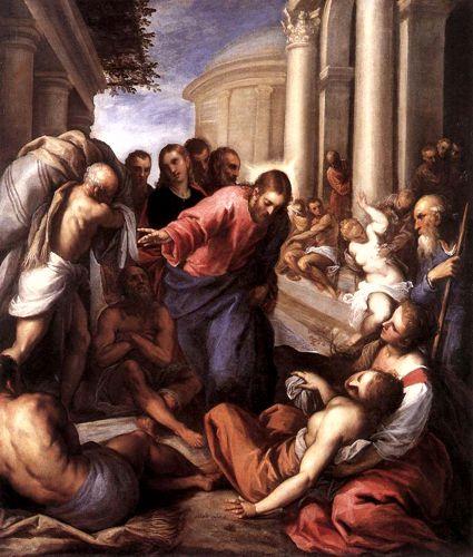 Ο Ιησούς θεραπεύει τον παράλυτο, πίνακας του Ιταλού ζωγράφου Giacomo Palma il Giovane (1548 ή 1550 - 1628)