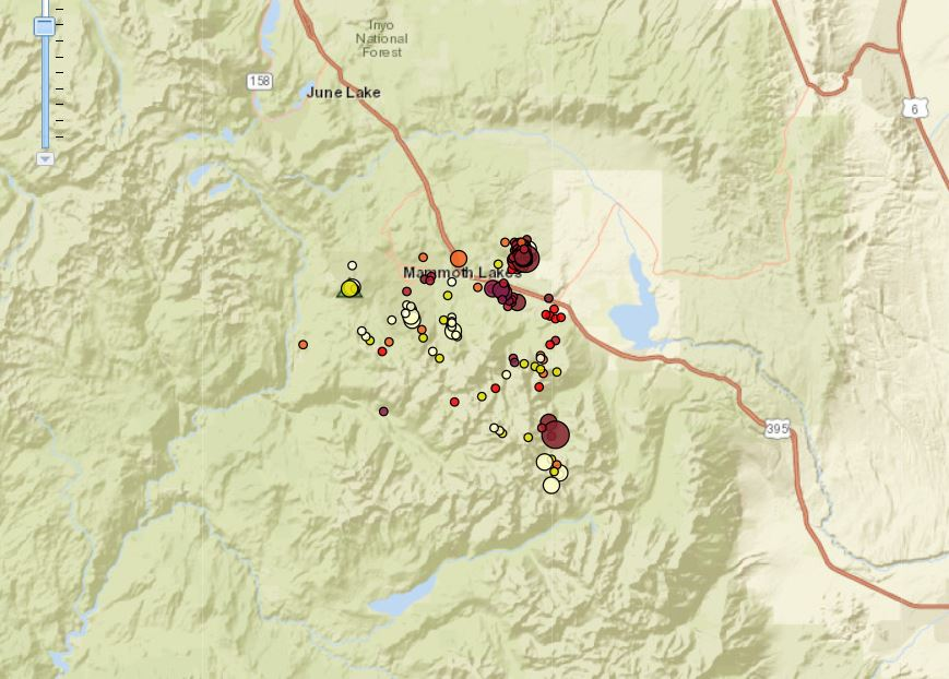 Earthquake swarm hits Mammoth Lakes, Earthquake swarm hits Mammoth Lakes october 2017, Earthquake swarm hits Mammoth Lakes map
