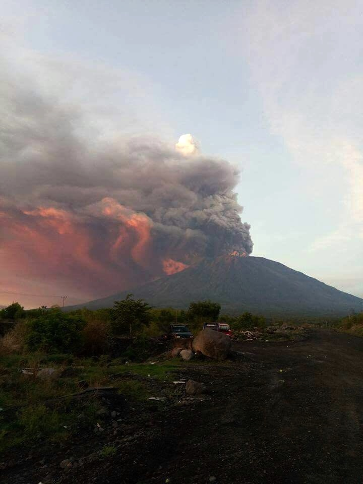 Magmatic eruption at Agung volcano on Bali in Indonesia on Nov 26