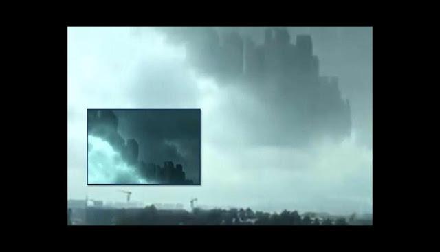το πρόσωπό μου morgana Κίνα Αύγουστος 2018, το mirage fata Morgana Κίνα Αύγουστος 2018, μυστηριώδη πόλη εμφανίζεται στον ουρανό της Κίνας τον Αύγουστο του 2018. βασίλειο του ουρανού παραλλαγή Κίνας Αύγουστος 2018
