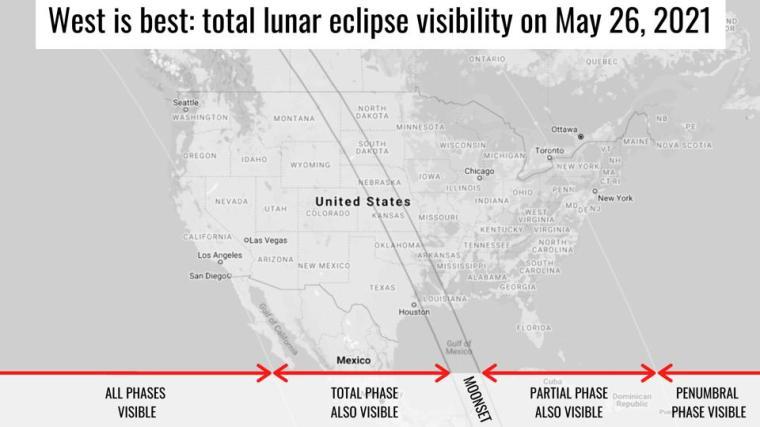Visibilidad del eclipse lunar en los EE. UU. el 26 de mayo de 2021, Visibilidad del eclipse lunar de la luna roja sangre en los EE. UU. el 26 de mayo de 2021, Visibilidad del eclipse lunar de la luna roja sangre en los EE. UU. el 26 de mayo de 2021 mapa