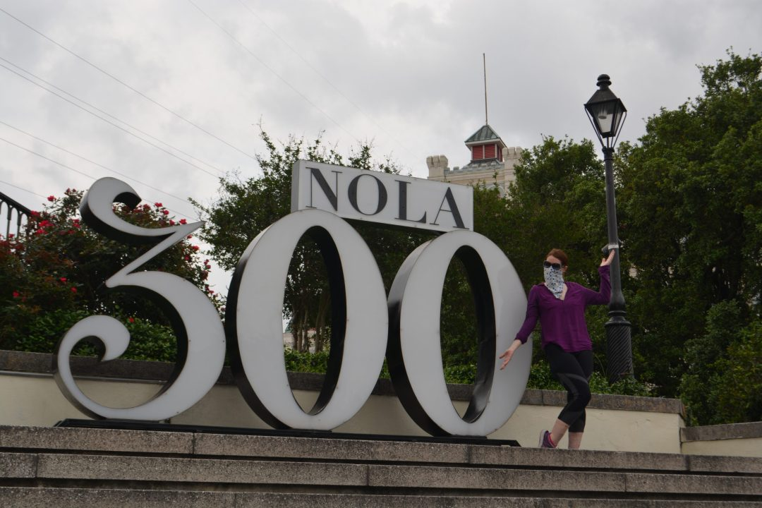 Historian Jane properly social distancing while in the French Quarter of New Orleans