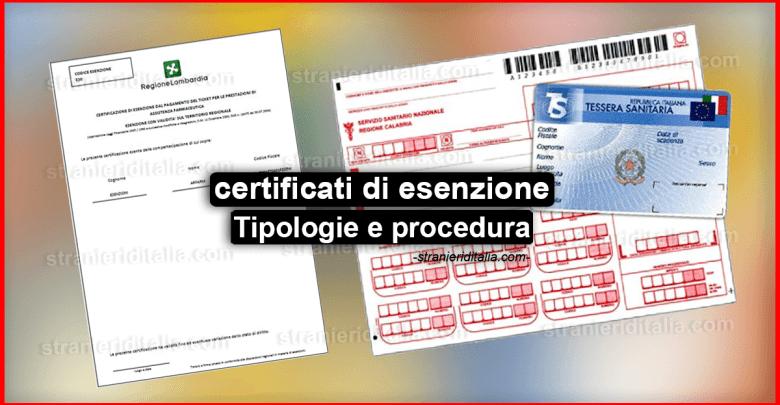 Tipologie di certificati di esenzione