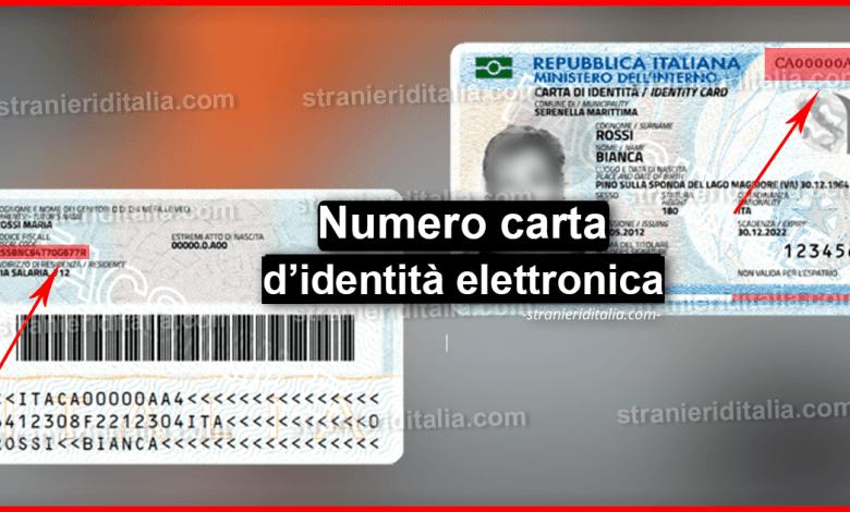 Numero carta d'identità elettronica | Stranieri d'Italia