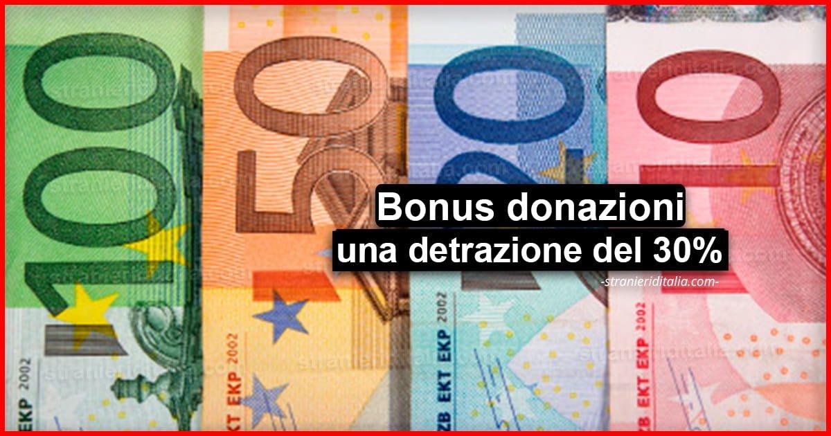 Bonus donazioni Coronavirus, spetta una detrazione del 30%
