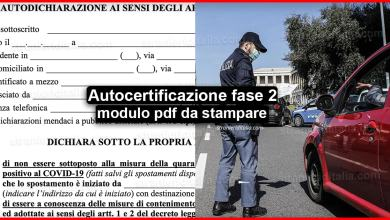 Photo of Autocertificazione 4 maggio modulo pdf da stampare