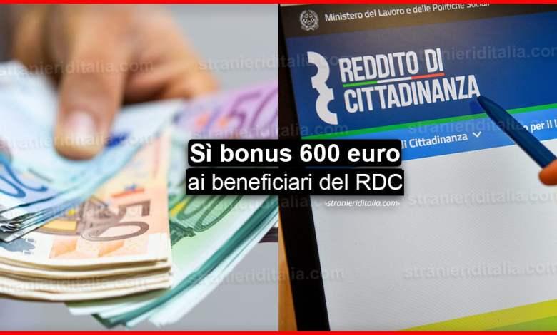 Reddito di cittadinanza: sì bonus 600 euro ai beneficiari!