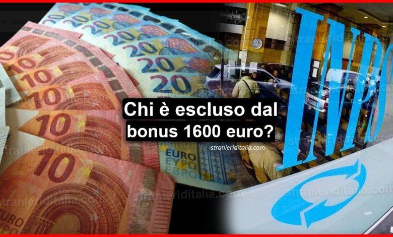 Reddito di emergenza: Ecco chi è escluso dal bonus fino a 1600 euro