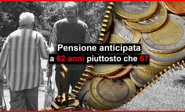 Pensione anticipata a 62 anni piuttosto che 67: Ci sono perdite?