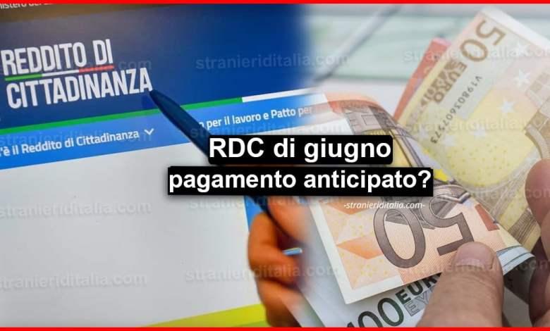 Reddito di cittadinanza di giugno: pagamento anticipato?
