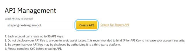 Set API name - Telegram crypto price bot