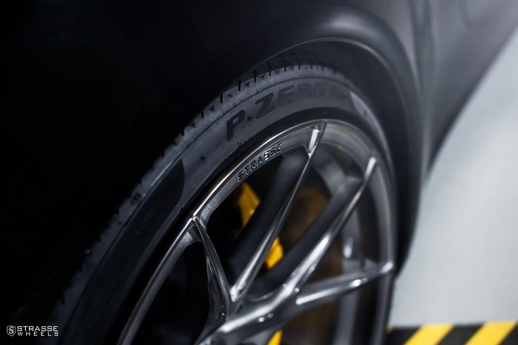 "Strasse Wheels - Porsche 991 Turbo S - 21"" SM5R Deep Concave Monoblocks - Gloss Brushed Titanium 13"