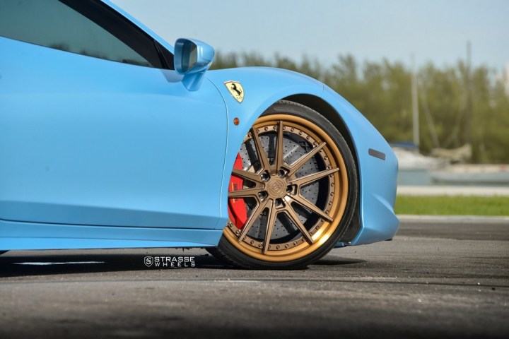 Strasse Wheels Satin Blue Ferrari 458 5