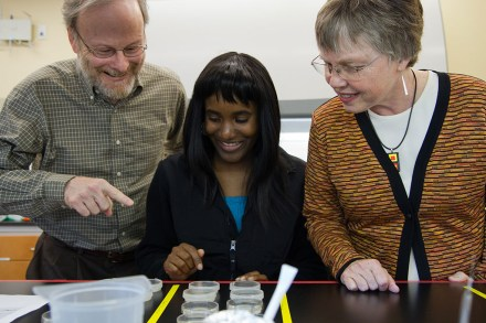 Our technician, Boahemaa, showing Joan and Dave her project
