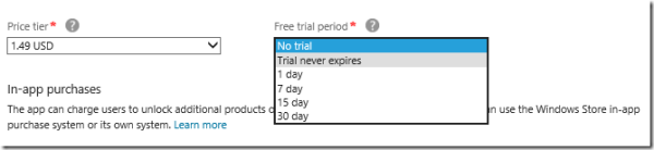 The Windows Store lets developers set up time-limited trials of up to 30 days with the click of a button.