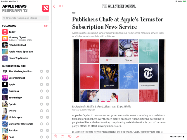 Free Wall Street Journal article in Apple News