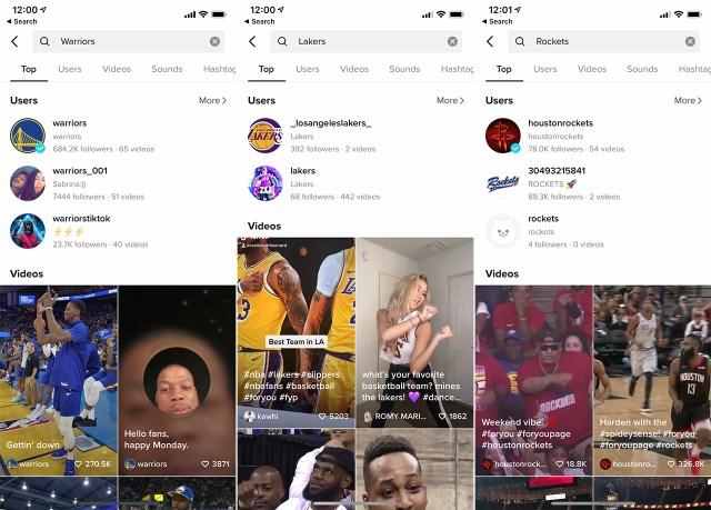 NBA teams in Chinese on TikTok
