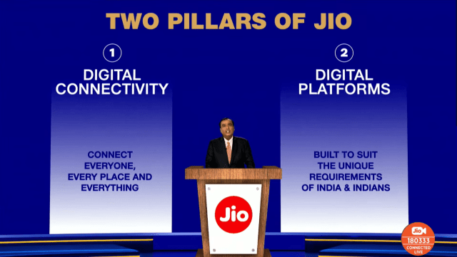 """The """"Two Pillars of Jio"""" slide from Reliance's Annual Global Meeting"""