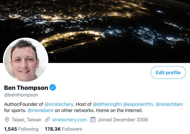 Ben's Twitter profile