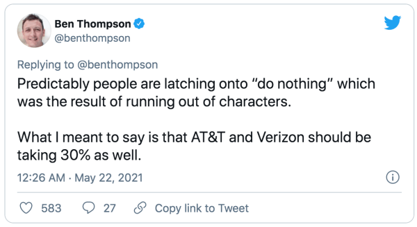 Ben asking why AT&T and Verizon shouldn't get 30%