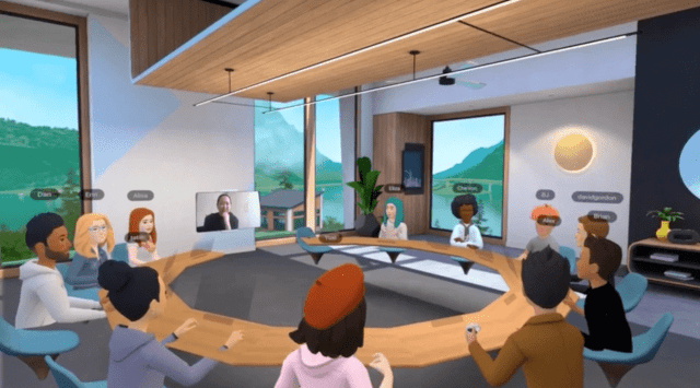 A combination of video callers and VR participants