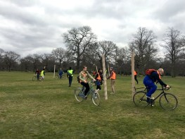 First Quantum Flux Footballum Equinox Fest (FQFFEF), London, March 17-25th, 8 AoP (2016 Vulg.) Moving the Goalposts, 3-Sided Football Match, Greenwich Observatory, intervening in the imperial control of time and space. Goals fixed to bikes, continuously changing location, rotating across the meridian, uniting east with west in a spiral motion - the onset of Jorn's complexity vandalism.