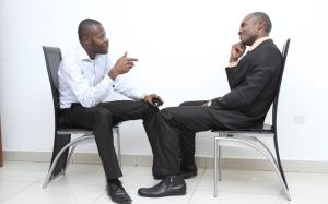 Two men meeting for personal coaching Calgary.