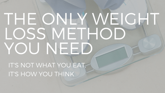"the text ""the only weight loss method you need"" over a woman's shoes on a scale"
