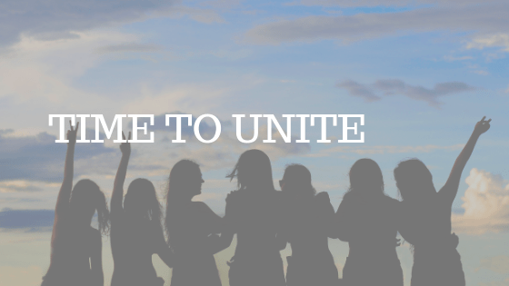 "GROUP OF PEOPLE STANDING IN SILHOUETTE WITH WHITE TEXT READING ""TIME TO UNITE"""