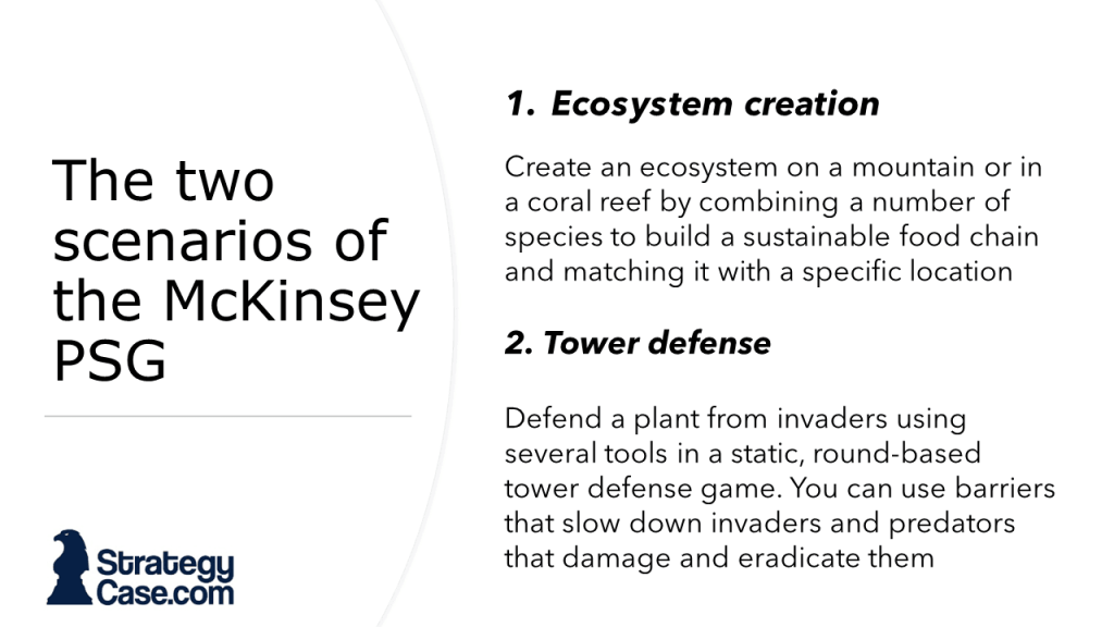 The image describes the 2 core games of the Imbellus McKinsey Problem Solving Game, the ecosystem creation and the tower defense