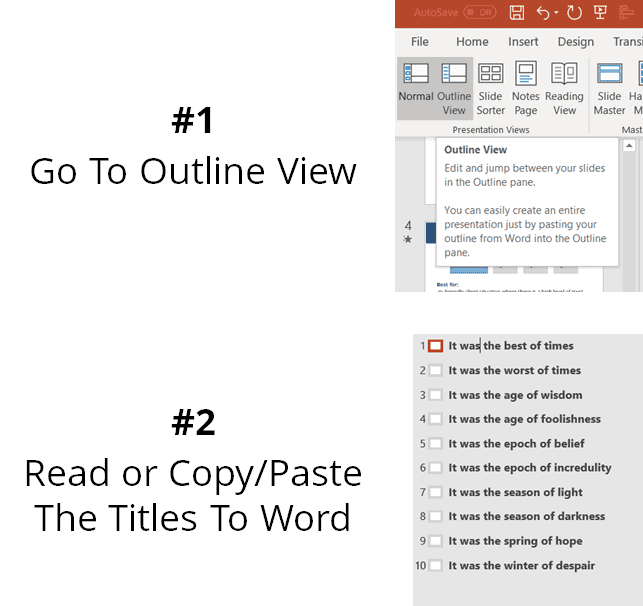 PowerPoint outline view enables you to see all the titles of the presentation