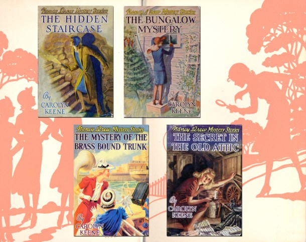 Samples of four 1930s and 1940s Nancy Drew covers.