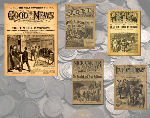 Examples of one story paper (Good News) and four dime novels written by Edward Stratemeyer.