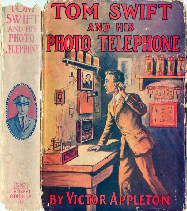 1920s dust jacket for Tom Swift and His Photo Telephone (1914).