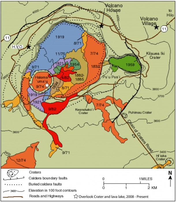 Map showing the portions of the Kilawea caldera involved in several eruptions over history.