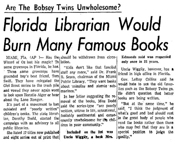1959 article on series book banning