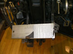 A galley full of slugs from the Linotype machine.