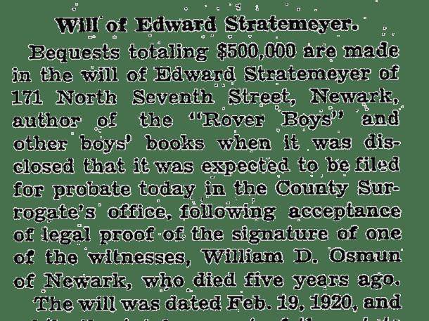Edward Stratemeyer will